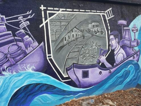 Del av lang mur i Brooklyn